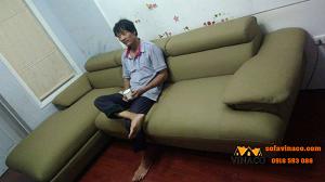 Biến sofa da thành sofa vải nhà anh Nam – Long Biên – Hà Nội
