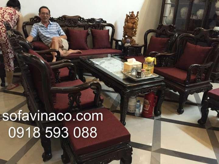 Bộ đệm ghế gỗ cổ nhà Bác Lợi - Thiên Đức - Yên Viên - Gia Lâm