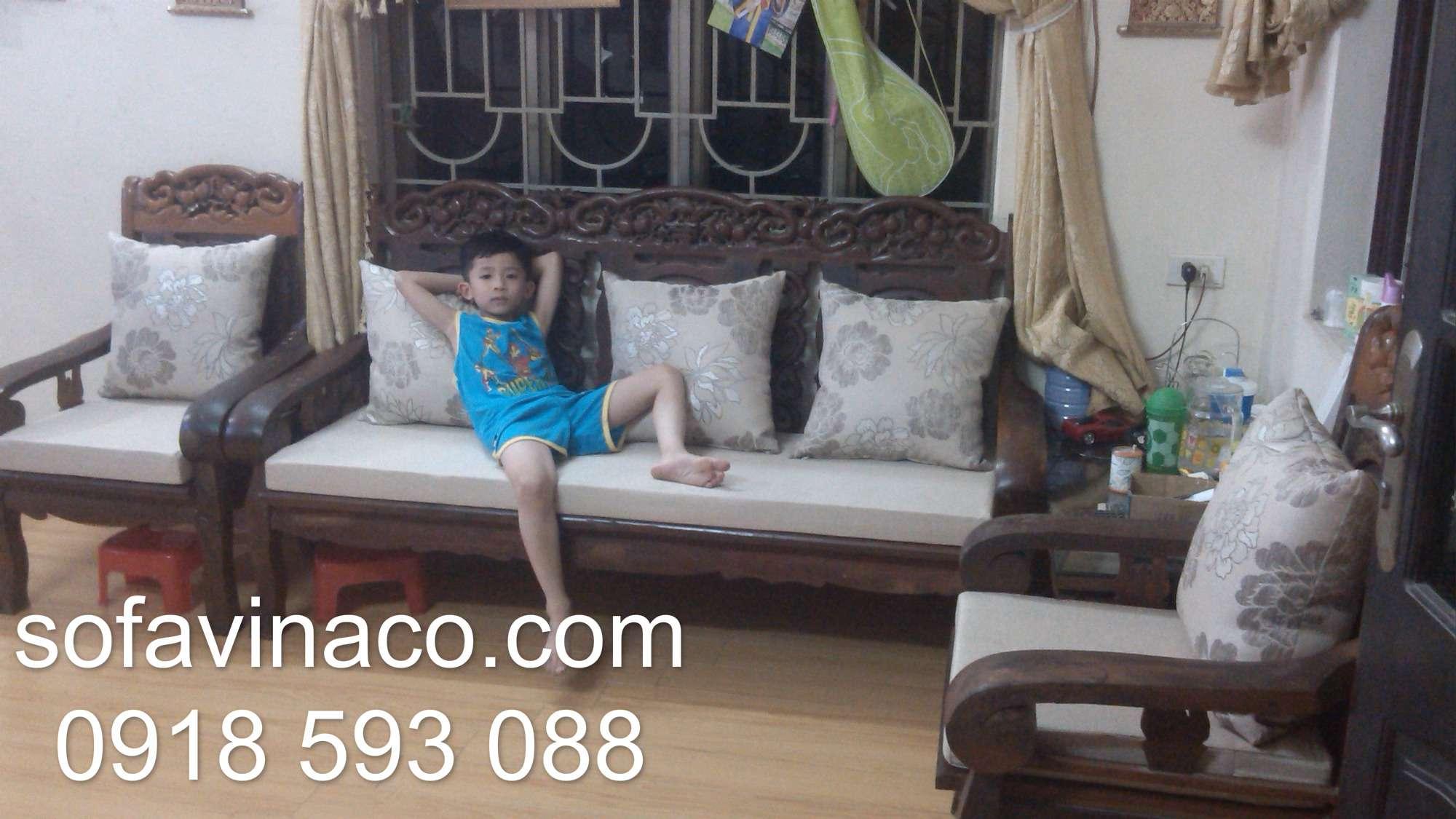 Bọc đệm ghế sofa nhà chị Dung- Kim chung - Hoài Đức