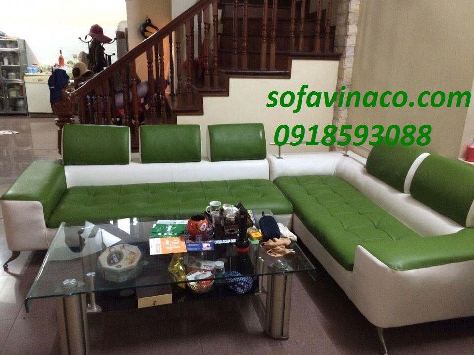 Bọc lại ghế sofa da màu xanh nhà anh Linh tại An Dương Vương