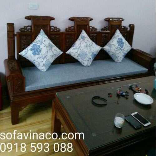 Đệm cho ghế sofa gỗ đồng kỵ màu xanh lam