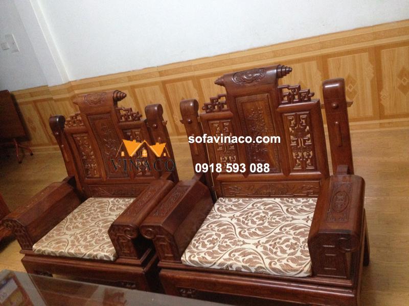 Làm đệm ghế gỗ giả cổ tại Xuân Đỉnh - Vải Indo cao cấp