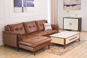 Mẫu ghế sofa da màu nâu sang trọng đẹp mắt
