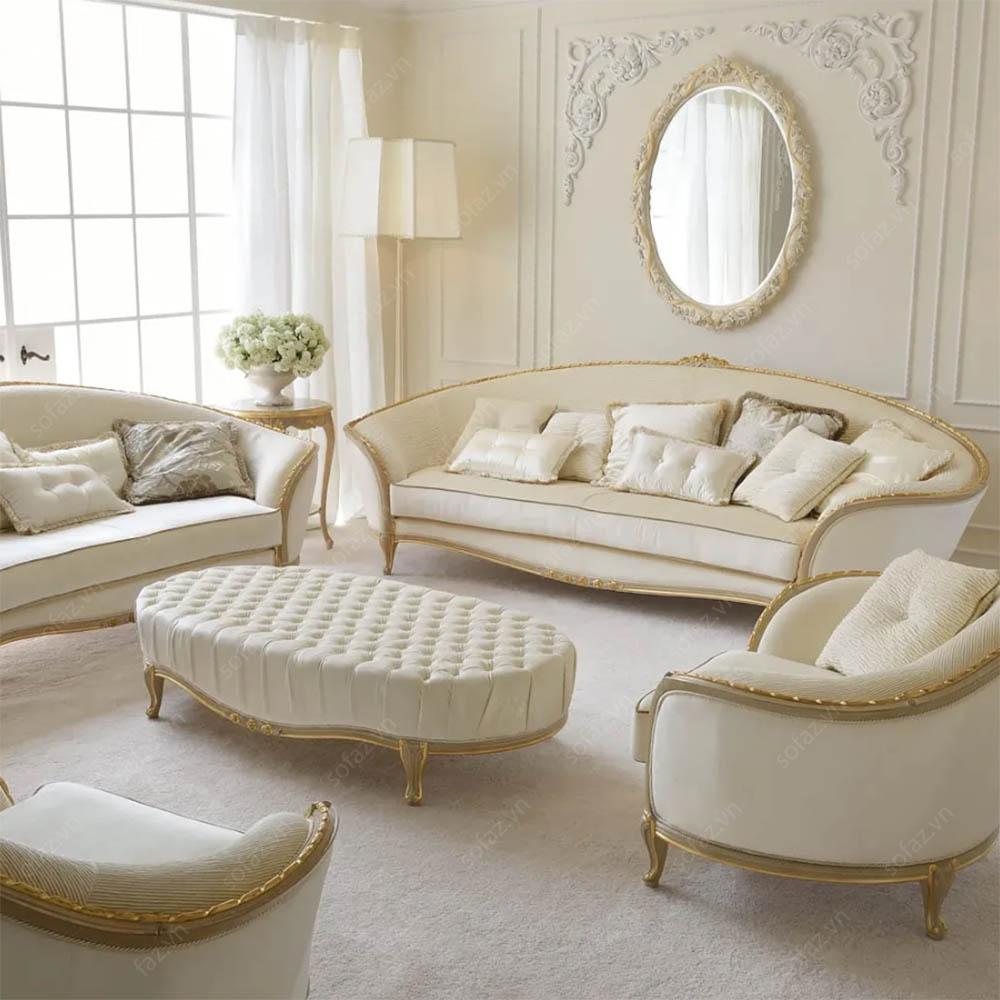 Đệm ghế gỗ bằng vải nỉ cho phòng khách với xu hướng tân cổ điển