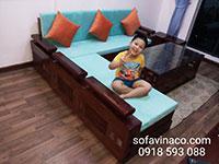 Bộ đệm ghế gỗ cho gia đình ở Hồ Tùng Mậu, Từ Liêm, Hà Nội