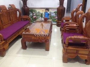 Bộ đệm ghế Tần Thủy Hoàng gửi về Huế có tông màu tím đặc biệt