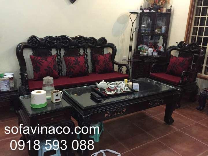 Bọc đệm ghế sofa gỗ nhà Bác Thanh Nguyễn Trãi- Thanh Xuân