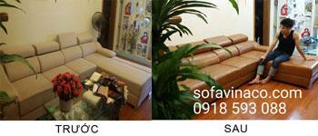 Bọc lại ghế sofa  từ vải sang da tại Vinaco
