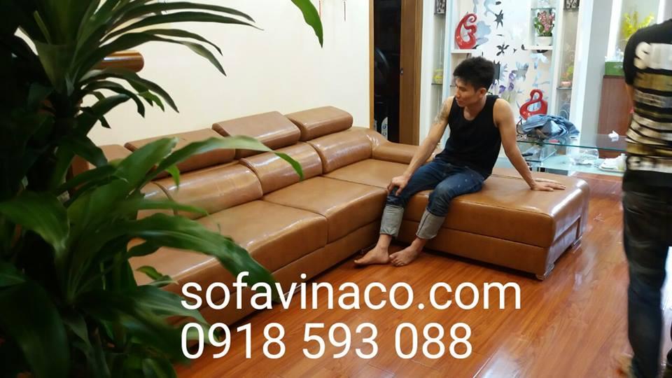 Bọc lại ghế sofa nỉ thành sofa da tại khu đô thị Tân Tây Đô