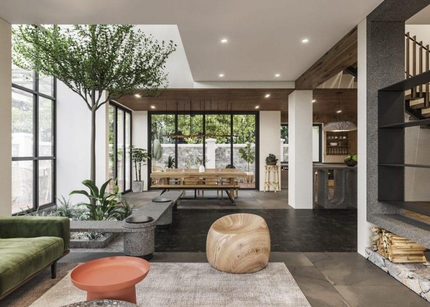 Cảm hứng thiết kế phòng khách theo phong cách mộc mạc với gam màu đơn giản