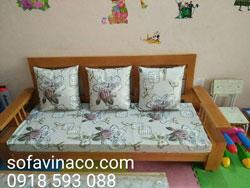 Đệm ghế sofa gỗ hiện đại cho phòng khách đẹp đẽ, sang trọng