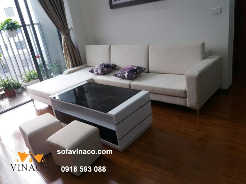 Đóng mới sofa L hiện đại nhà chị Bích – Xuân Phương SG009