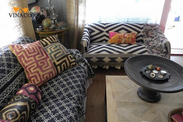 Gợi ý bọc ghế sofa họa tiết cho phòng khách