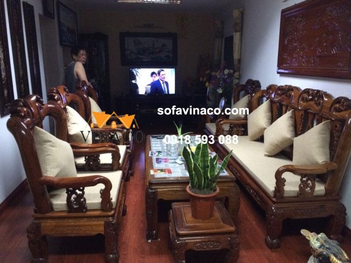 Làm đệm ghế giả cổ tại Quan Thổ, Đống Đa, Hà Nội