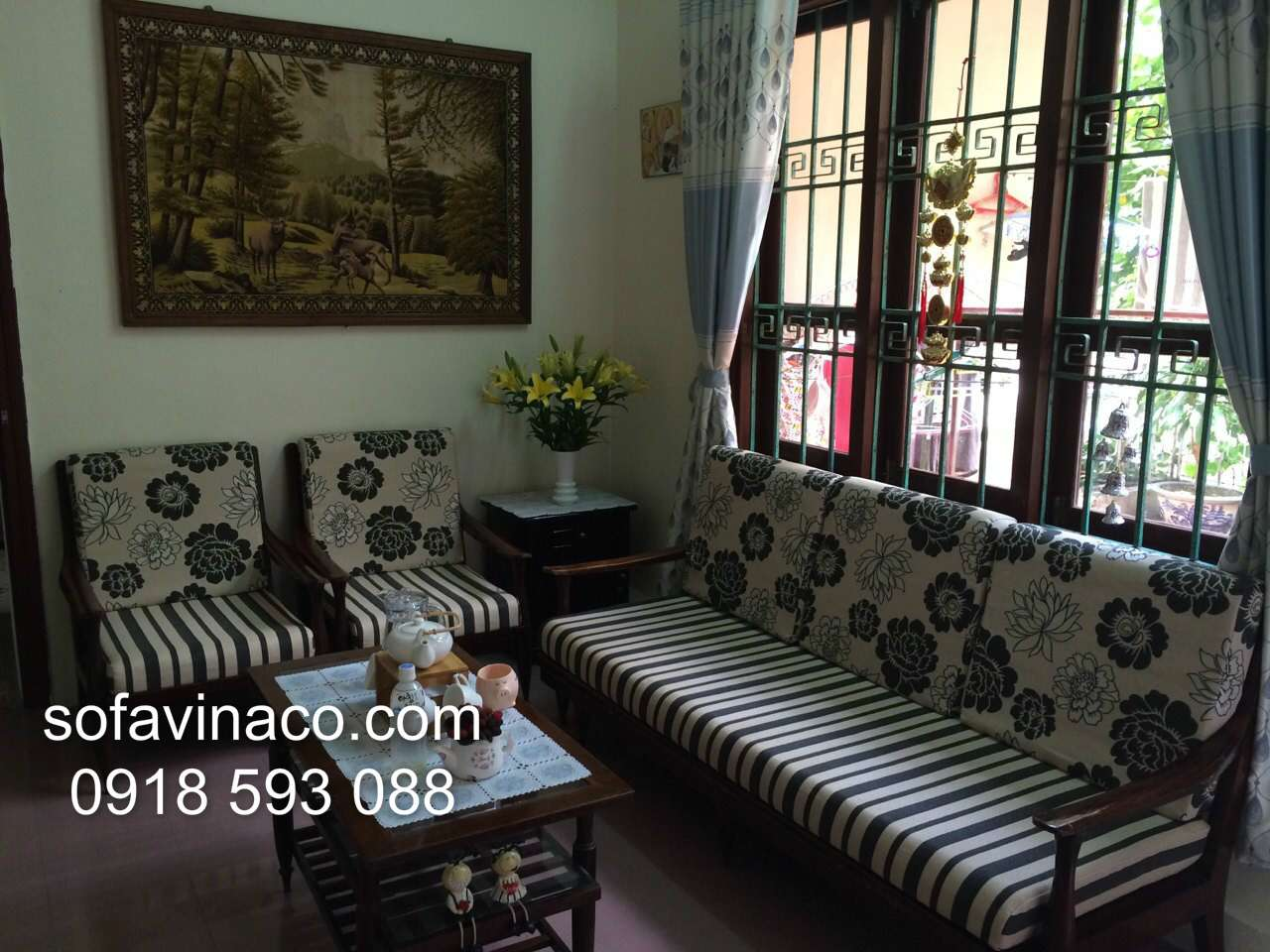 Làm đệm ghế gỗ nhà Chị Hoa Nguyễn Sơn Long Biên Hà Nội