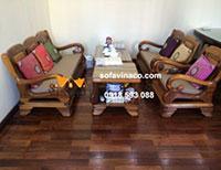 Làm đệm ghế sofa gỗ nhà cô Chung ở Trung Kính Cầu Giấy