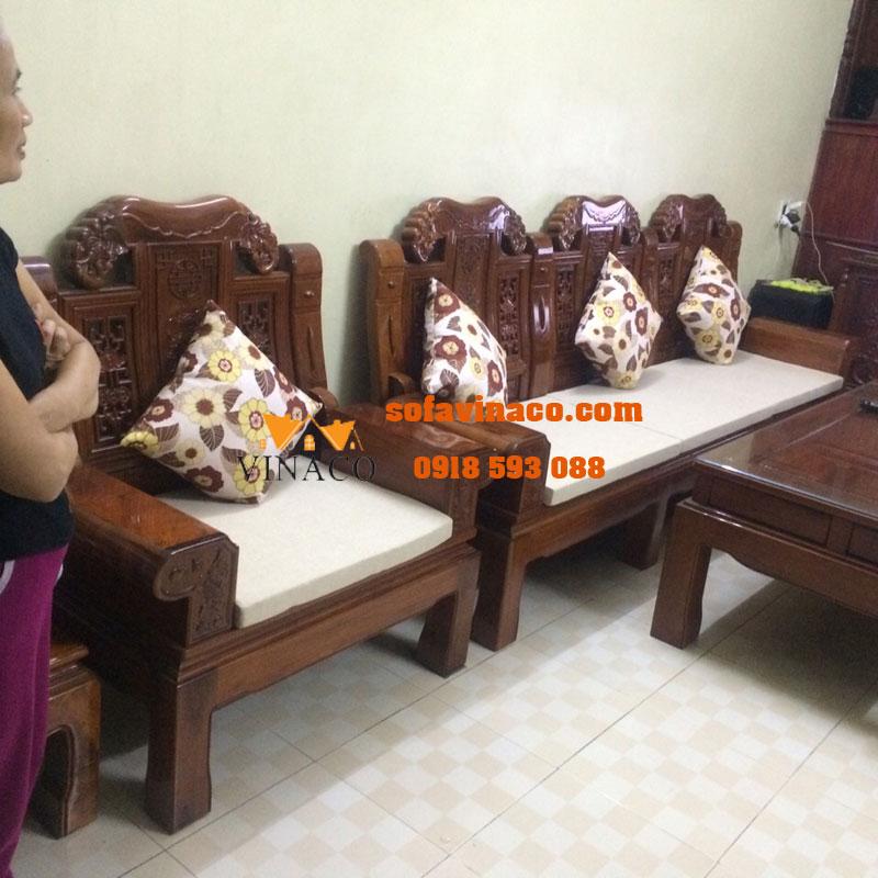 Làm đệm ghế sofa theo kích thước tại Đông Anh – nhà cô Hiền