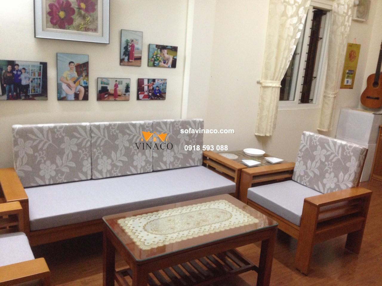 Làm đệm ngồi và đệm tựa ghế sofa gỗ hiện đạiHoàng Quốc Việt