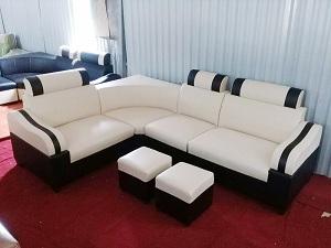 Mẫu ghế sofa da trắng kẻ đen kiểu dáng mới nhất