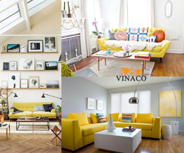 Phòng khách nổi bật với các kiểu kết hợp sofa màu vàng