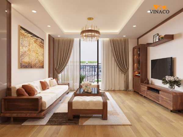 Xu hướng sofa gỗ đơn giản cho phòng khách